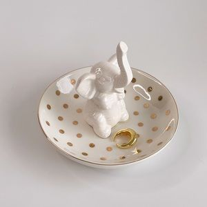 Jewelry Dish with Elephant, gold polka dots & rim